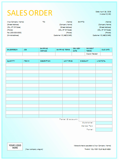 Sales order Template Excel Lovely Document Templates Sales order Templates for Excel
