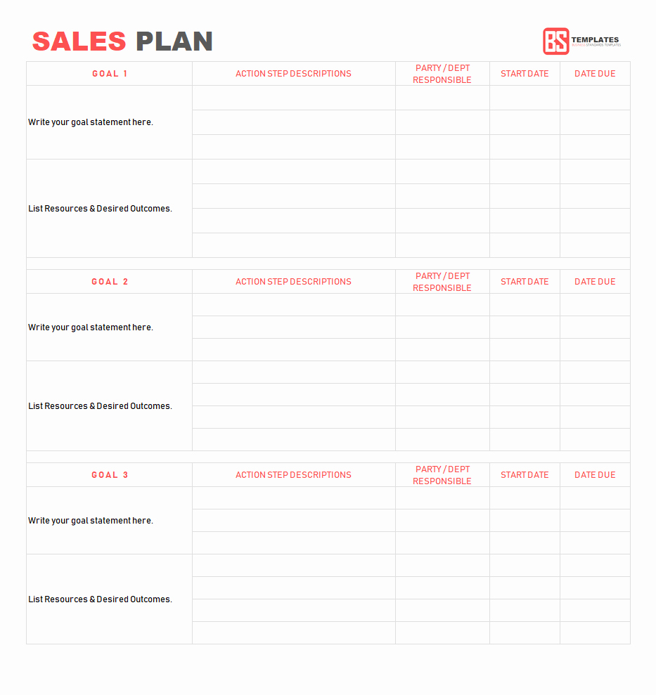 Sales Planning Template Excel New Sales Plan Template Sales Strategy Plan Word Excel format