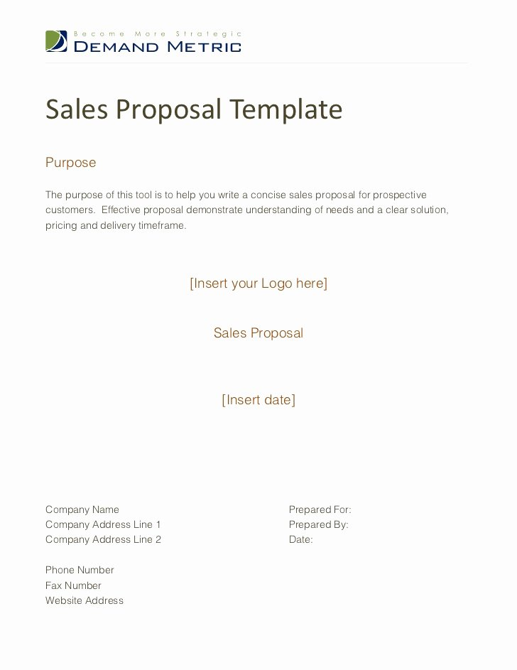 Sales Proposal Template Word Inspirational Free Sample Sales Proposal Template Sales Proposal
