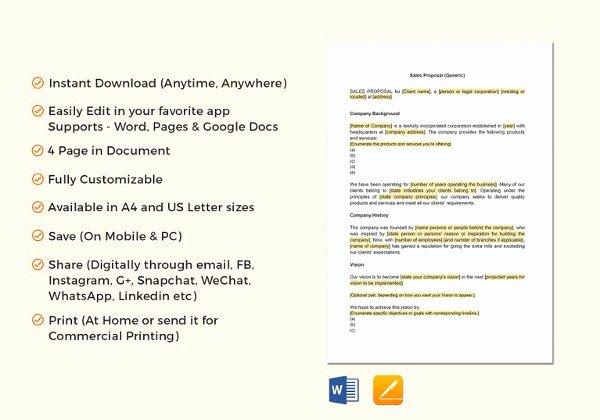 Sales Proposal Template Word Unique Bid Proposal Templates 19 Free Word Excel Pdf