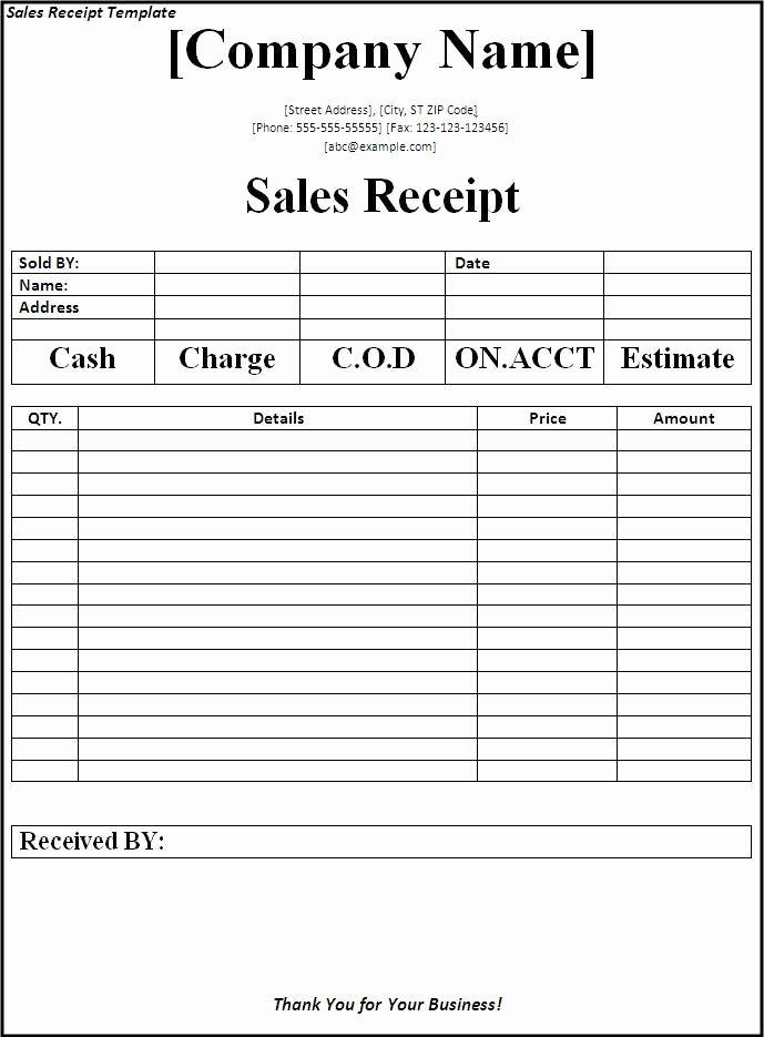 Sales Receipt Template Excel Inspirational 6 Free Sales Receipt Templates Excel Pdf formats