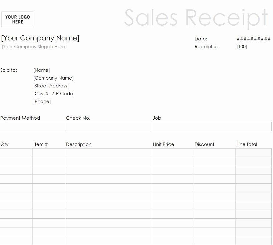 printable sales receipt template
