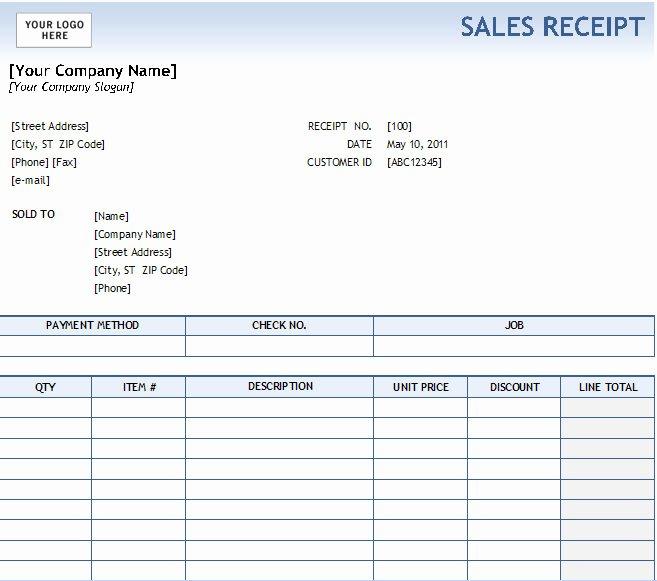 Sales Receipt Template Excel Unique Excel Sales Receipt Excel Receipt Template