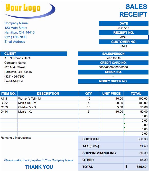 Sales Receipt Template Excel Unique Free Excel Invoice Templates Smartsheet