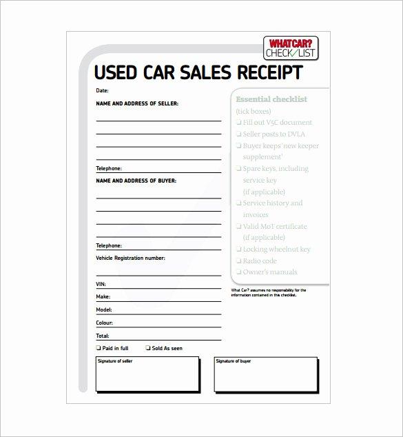 Sales Receipt Template Free Beautiful 14 Car Sale Receipt Templates Doc Pdf