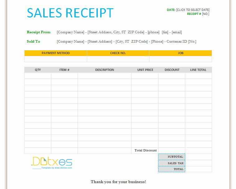 Sales Receipt Template Free Beautiful Sales Receipt Template for Word Dotxes