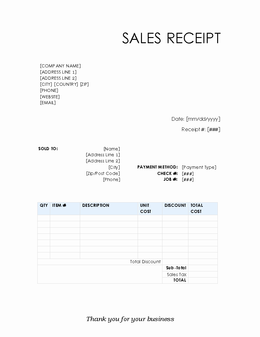 Sales Receipt Template Free Lovely Free Receipt Template – Printable Receipt Templates