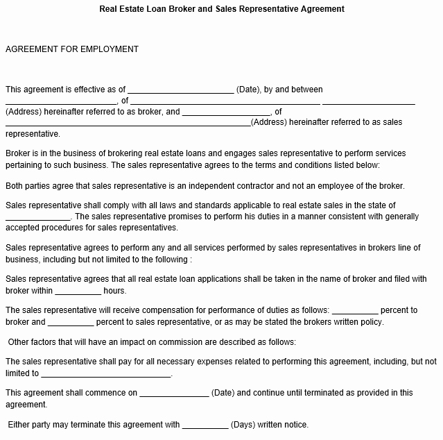 Sales Rep Agreement Template Awesome Sales Representative Agreement Template