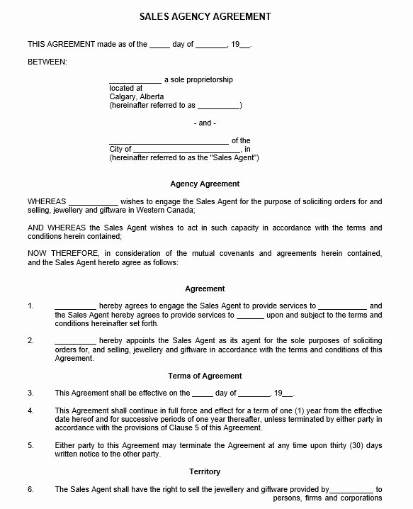 Sales Rep Agreement Template Best Of 9 Free Sample Sales Representative Agreement Templates