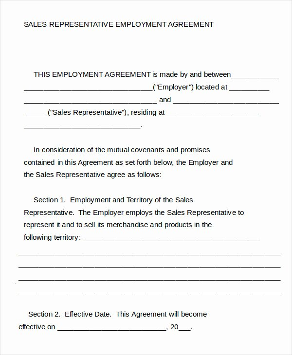 Sales Rep Agreement Template Fresh Employment Agreement Template 15 Free Word Pdf format