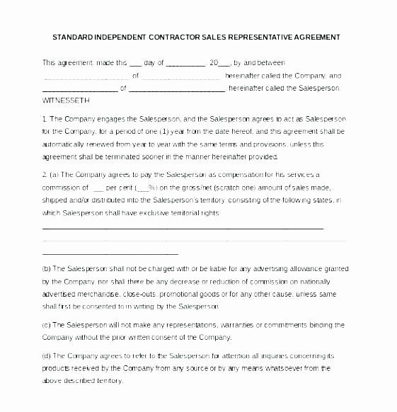 Sales Rep Agreement Template Fresh Independent Sales Rep Contract Template