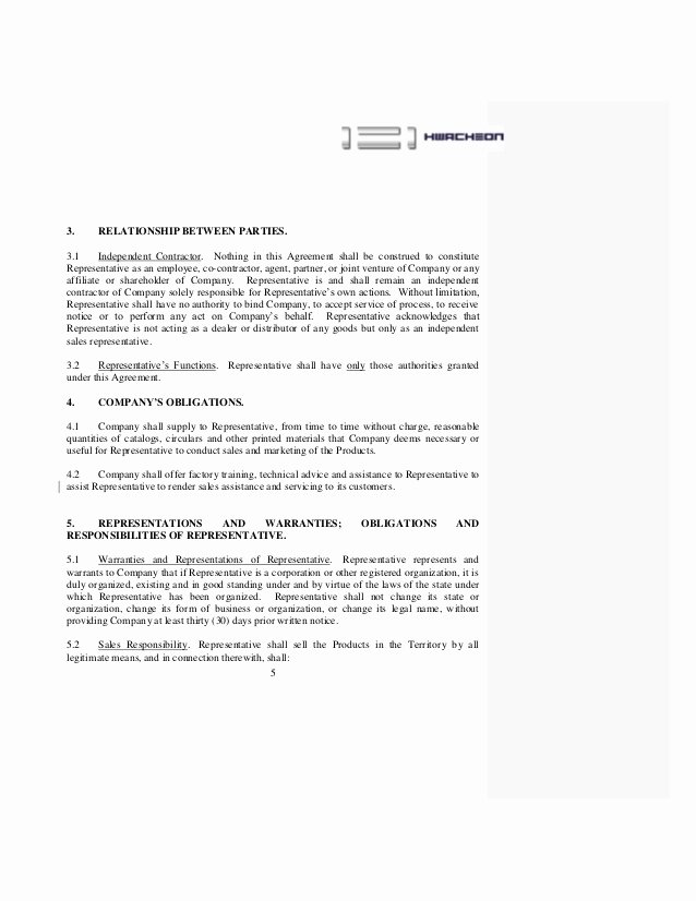 Sales Rep Agreement Template Luxury Contract Sales Representative Agreement