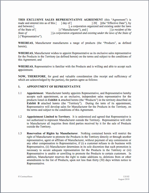Sales Rep Agreement Template Luxury Sales Representative Agreement