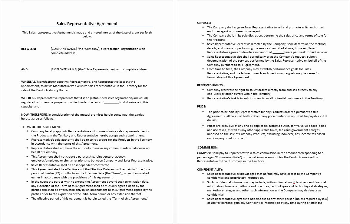 Sales Rep Agreement Template Luxury Sales Representative Agreement Template Microsoft Word