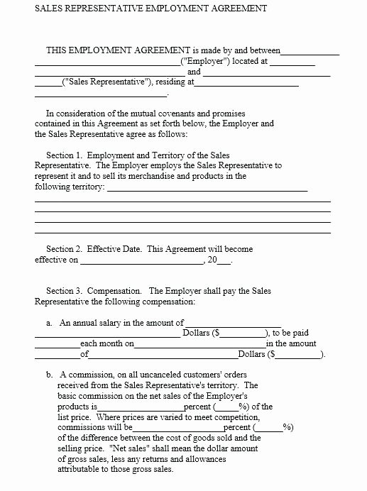 Sales Rep Agreement Template Luxury Sales Representative Agreement Template – Verbe