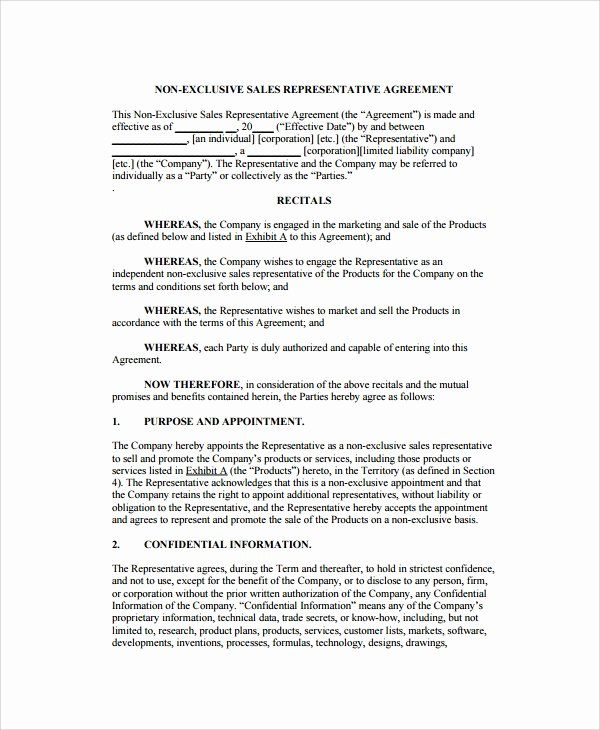 Sales Rep Agreement Template New 8 Sales Agency Agreement Templates