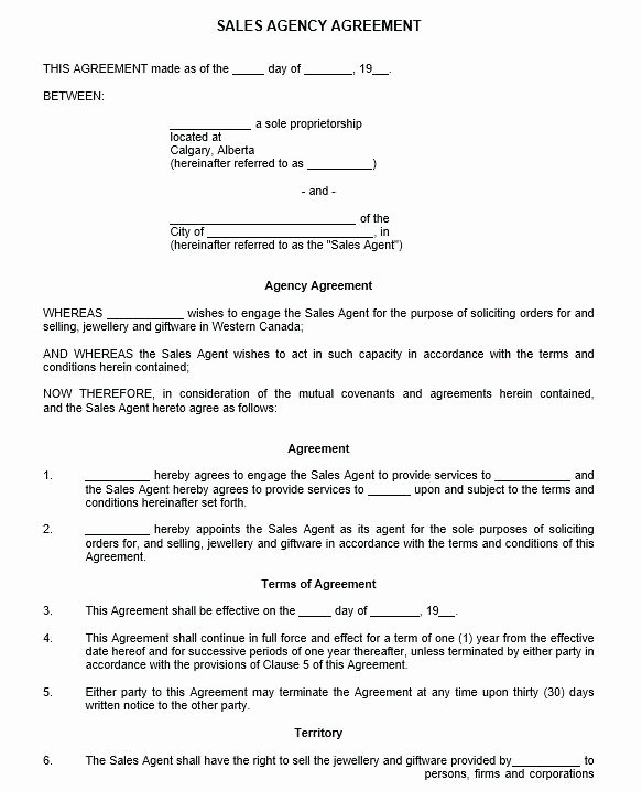 Sales Rep Agreement Template Unique Sales Representative Agreement Template Free Rep Sample