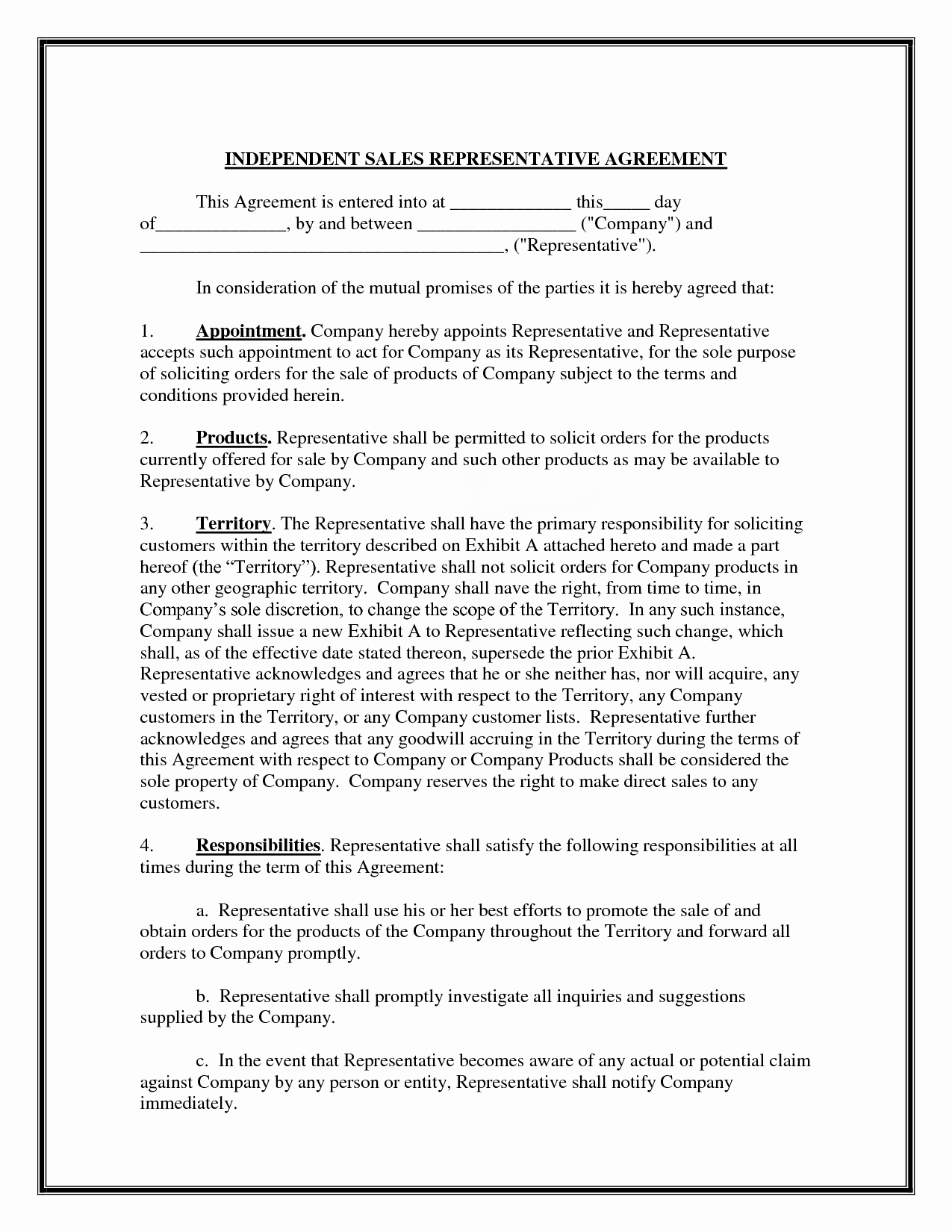 Sales Rep Contract Template Unique 10 Best Of Sales Representative Agreement Sample