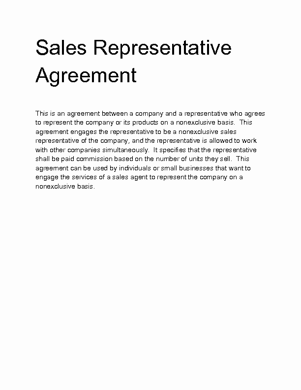 Sales Rep Contract Template Unique Heads Terms Sample Heads Agreement Template