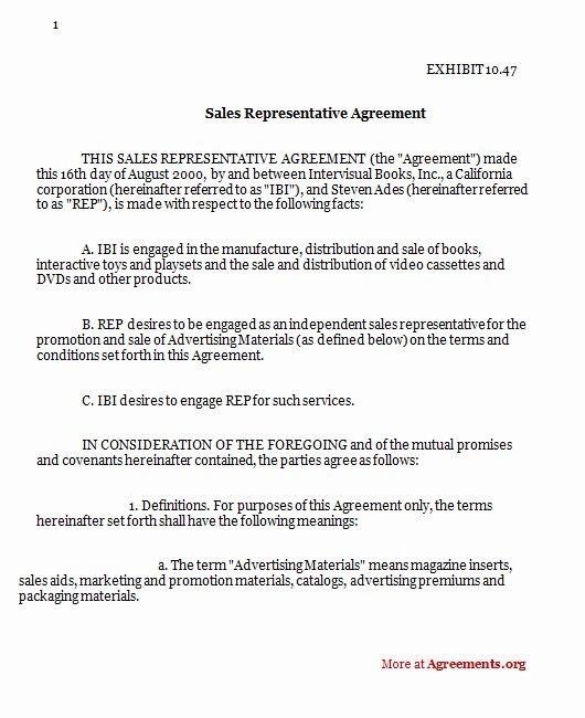 Sales Rep Contract Template Unique Sales Representative Agreement Sample Sales Representative