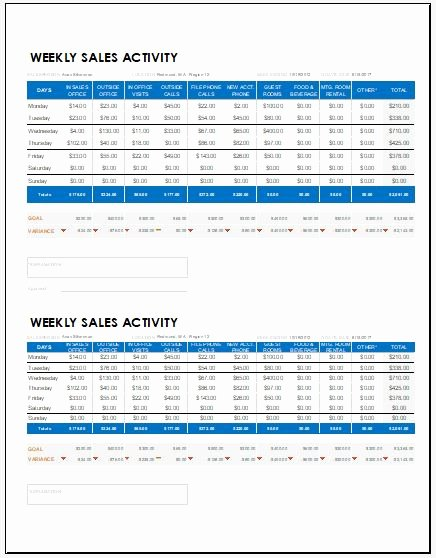 Sales Report Template Excel Elegant Weekly Sales Report Templates for Ms Excel