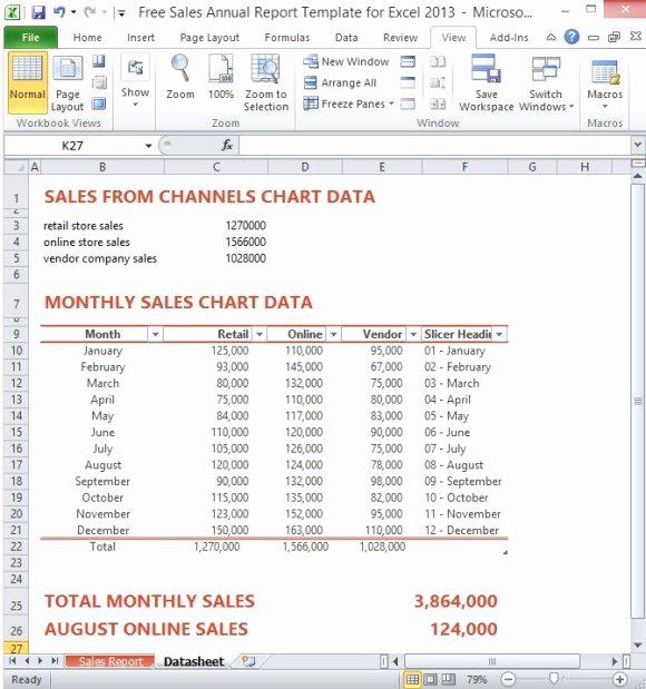 Sales Report Template Excel Fresh Free Sales Annual Report Template for Excel 2013