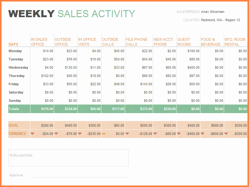 Sales Report Template Excel Inspirational 9 Sales Activity Tracking Spreadsheet