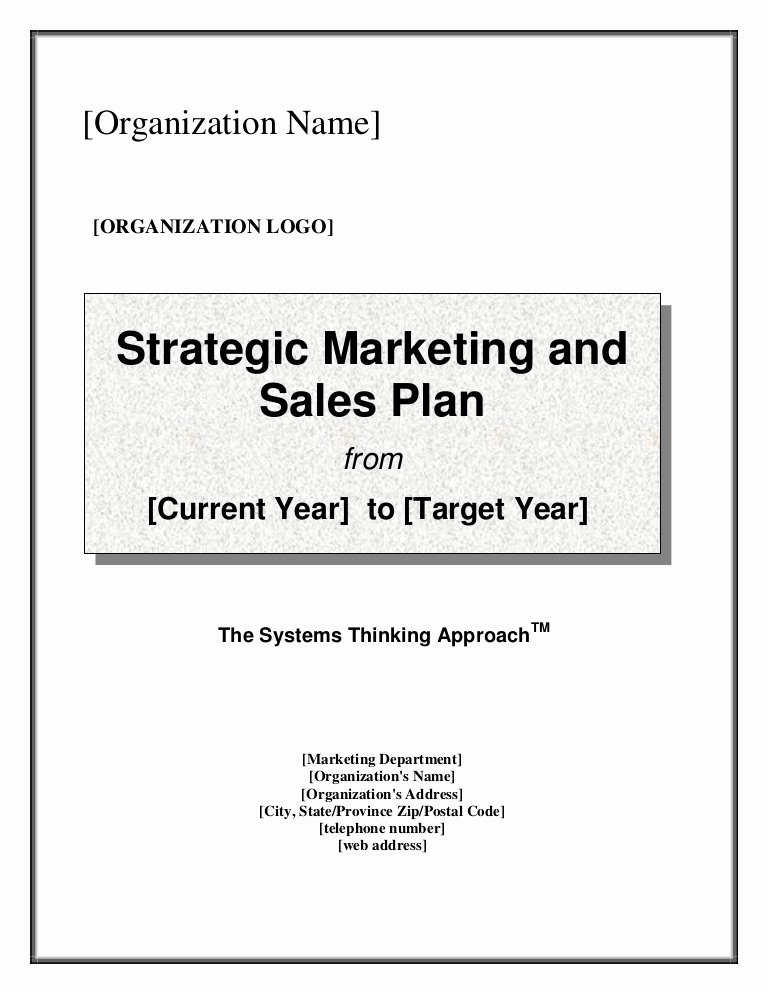 Sales Strategic Plan Template New Strategic Marketing & Sales Plan Template
