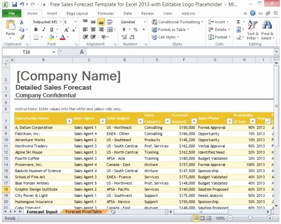 Sales Tracker Excel Template Fresh Free Sales forecast Template for Excel 2013 with Editable Logo
