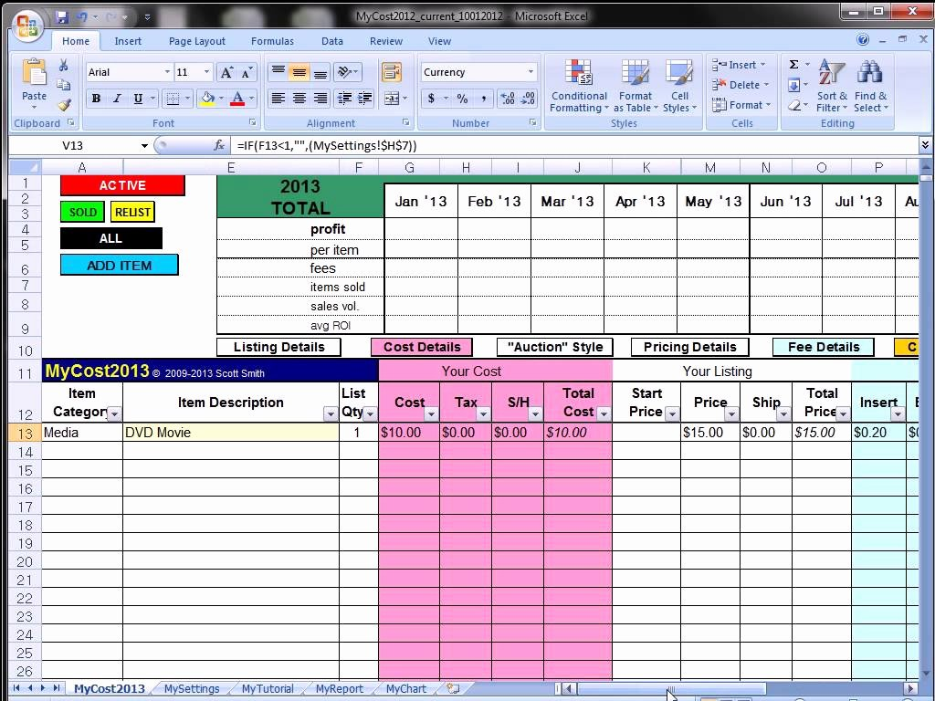 Sales Tracking Template Excel Free Awesome Ebay Profit Track Sales Excel Spreadsheet Ebay Spreadsheet