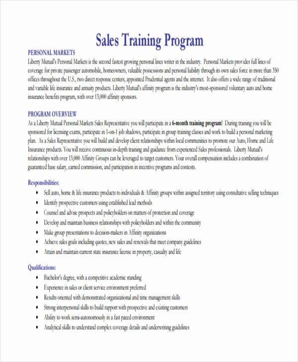 Sales Training Program Template Beautiful 10 Training Program Examples & Samples Pdf