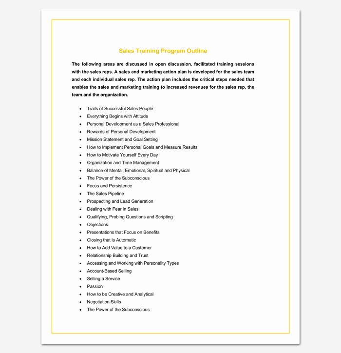 Sales Training Program Template Unique Program Outline Template 14 Sample Example & format