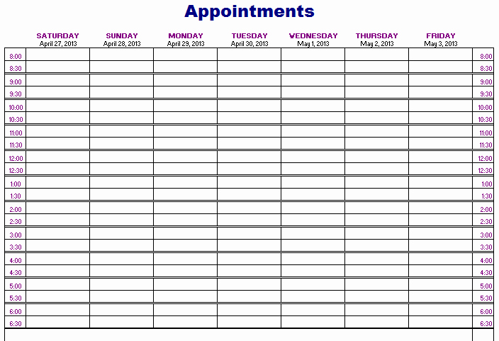 Salon Appointment Book Template Unique Hair Appointment Scheduler