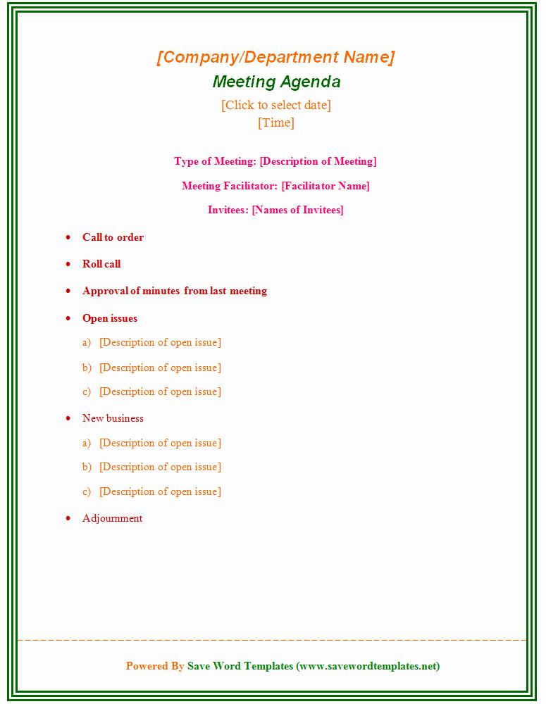 Sample Agenda Template for Meeting Beautiful Enticing Template Word Sample for Meeting Agenda with Type