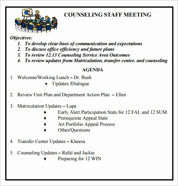Sample Agenda Template for Meeting Best Of Staff Meeting Agenda 7 Free Download for Pdf