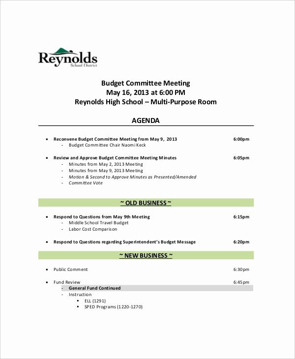 Sample Agenda Template for Meeting Fresh 12 Bud Meeting Agenda Templates – Free Sample Example