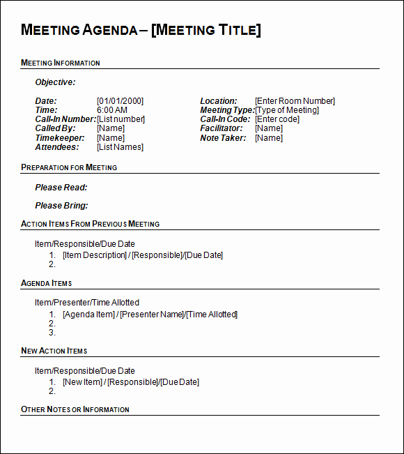 Sample Agenda Template for Meeting Fresh Agenda Template