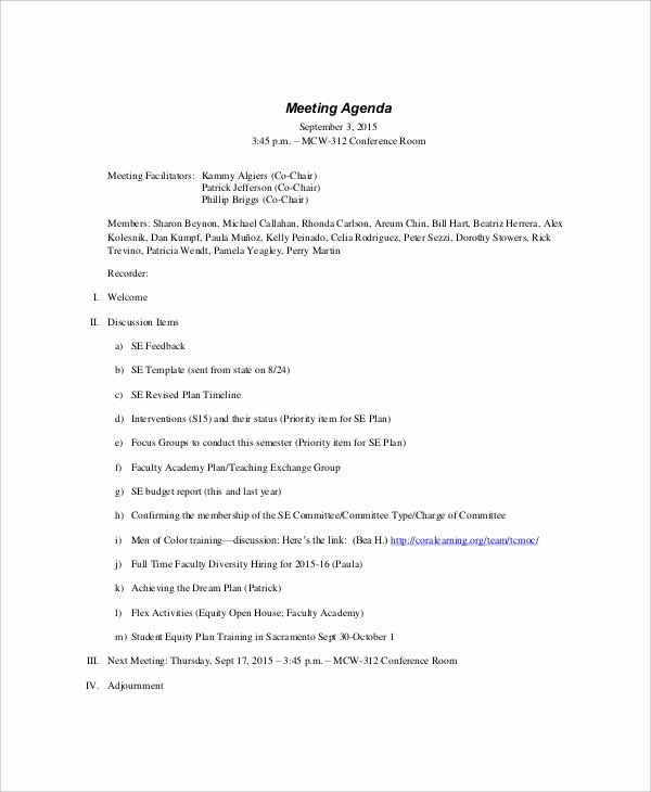 Sample Agenda Template for Meeting Lovely 9 formal Meeting Agenda Templates Pdf Doc