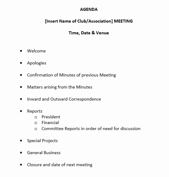 Sample Agenda Template for Meeting Luxury 9 Free Sample Basic Meeting Agenda Templates Printable