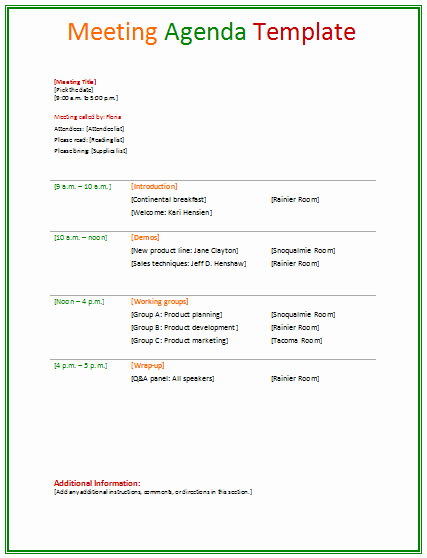 Sample Agenda Template for Meeting Unique 46 Brilliant Samples Of Agenda Template Word Thogati