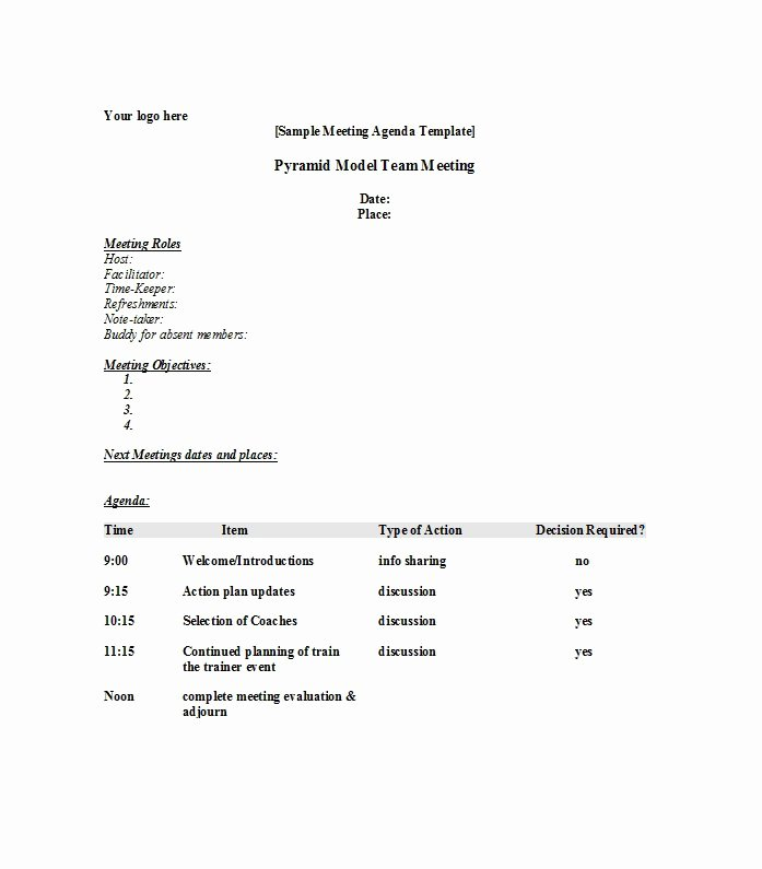 Sample Agenda Template for Meetings Awesome 51 Effective Meeting Agenda Templates Free Template