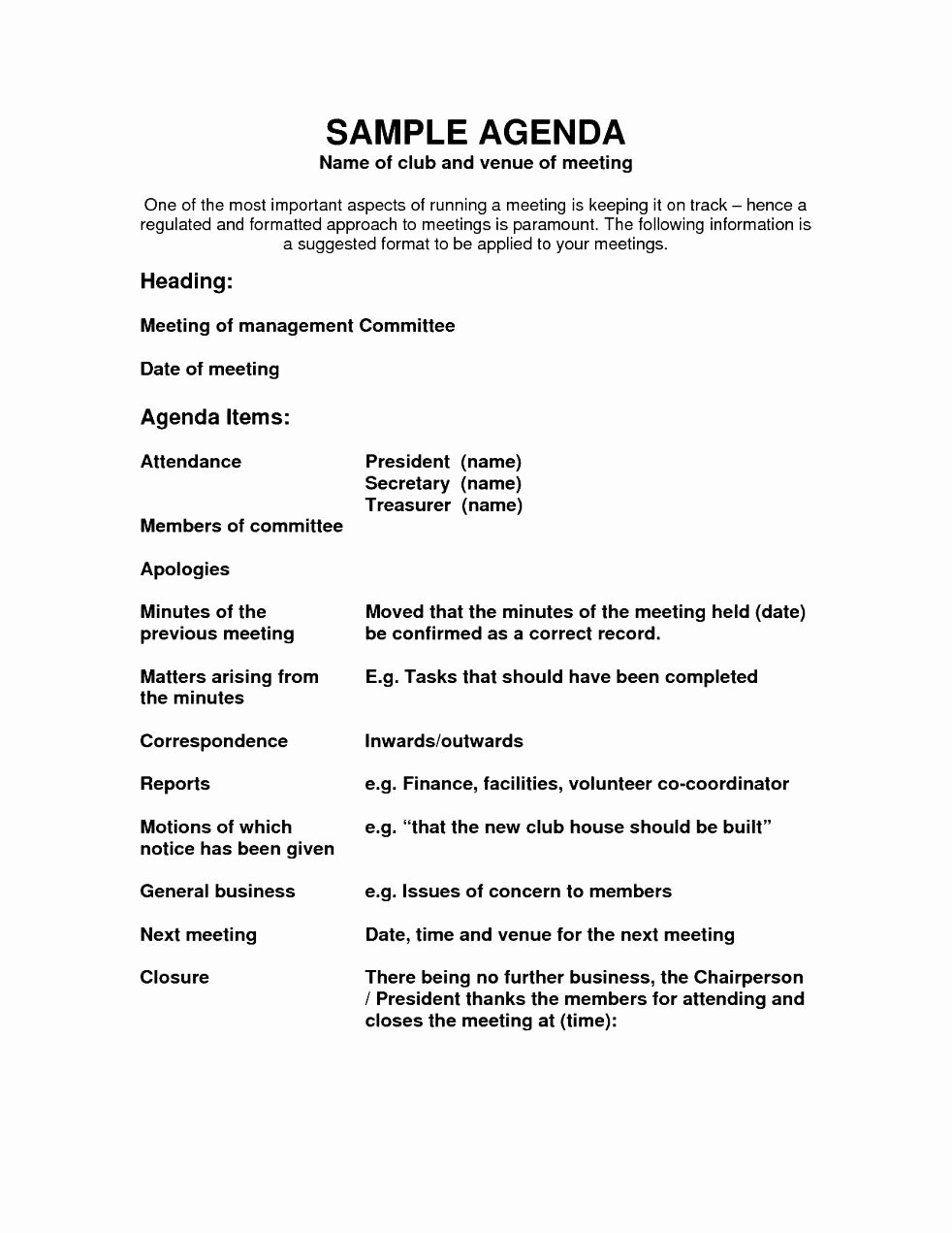 Sample Agenda Template for Meetings Best Of Agenda Template Word Example Mughals