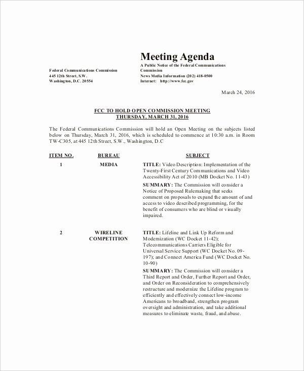 Sample Agenda Template for Meetings Elegant 8 Family Meeting Agenda Templates – Free Sample Example