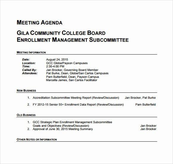 Sample Agenda Template for Meetings Elegant Business Meeting Agenda – 5 Free Samples Examples format