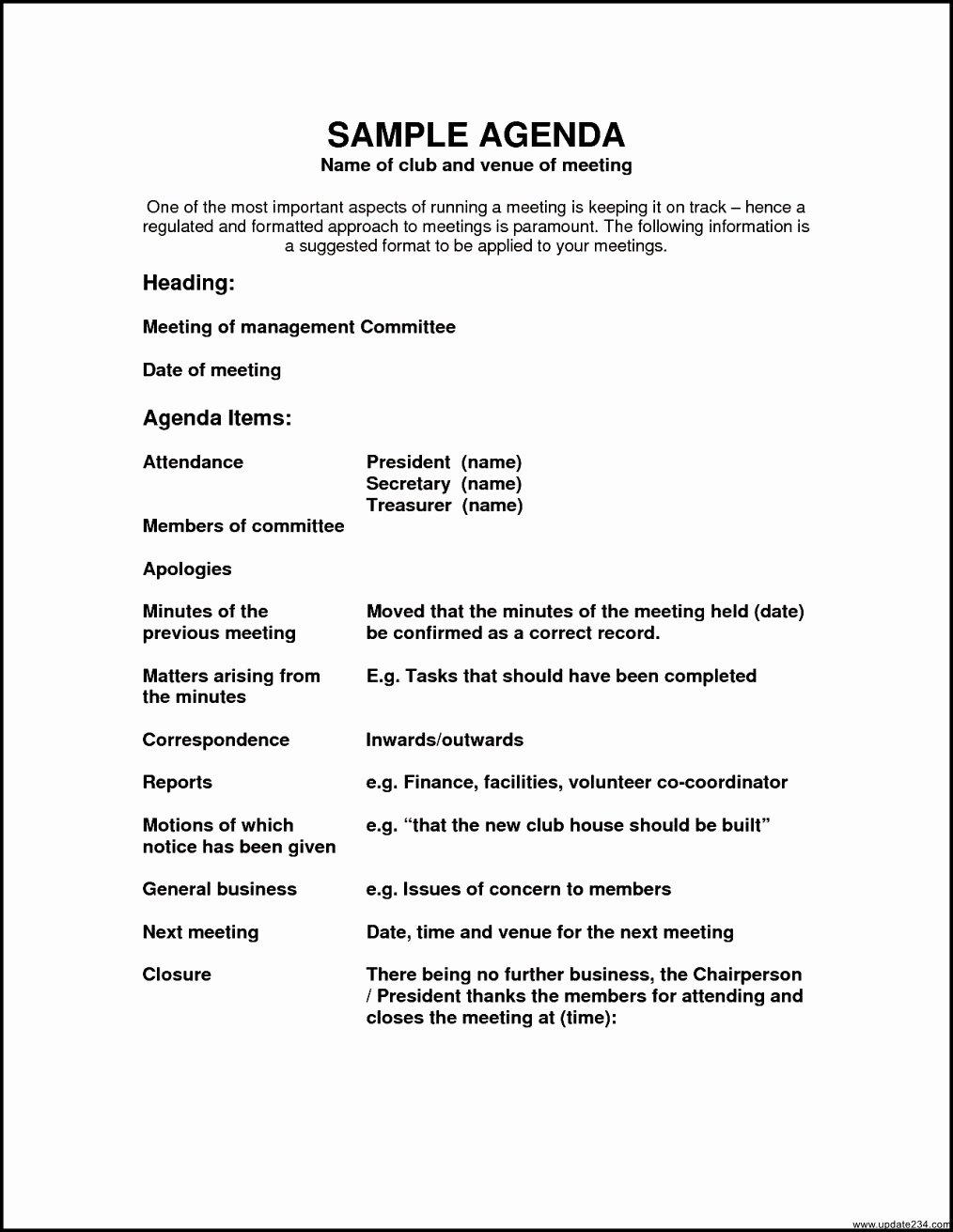 Sample Agenda Template for Meetings Elegant Sample Agenda Template Template Update234 Template
