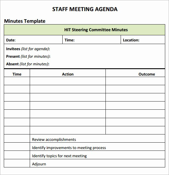 Sample Agenda Template for Meetings Elegant Staff Meeting Agenda 7 Free Download for Pdf
