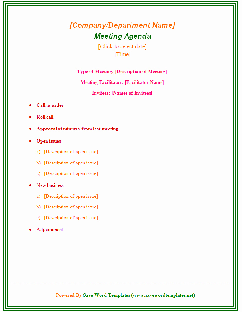 Sample Agenda Template for Meetings Inspirational Enticing Template Word Sample for Meeting Agenda with Type