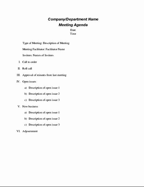 Sample Agenda Template for Meetings Inspirational formal Meeting Agenda