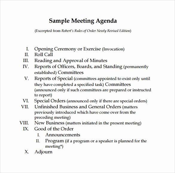 Sample Agenda Template for Meetings Inspirational Sample Board Meeting Agenda Template 11 Free Documents