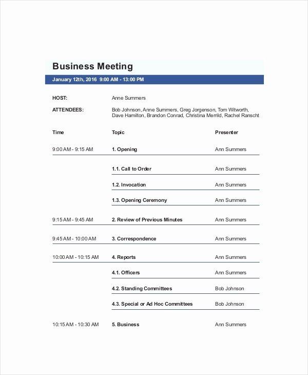 Sample Agenda Template for Meetings Lovely 10 Business Meeting Agenda Templates – Free Sample